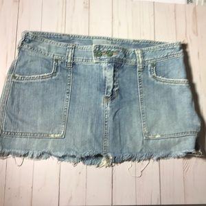 Abercrombie & Fitch distressed denim mini skirt